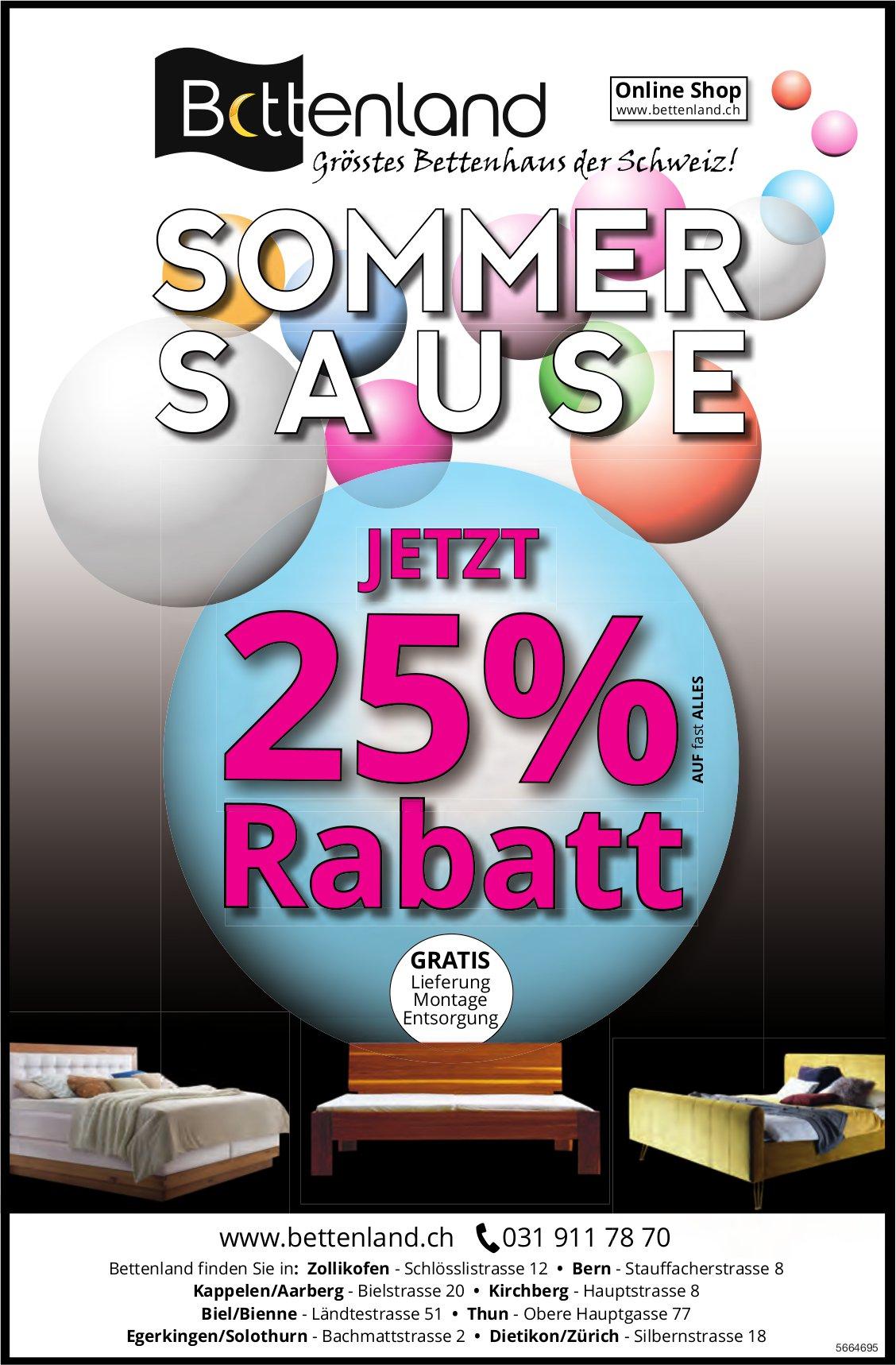 Bettenland - Sommer-Sause - Jetzt 25% Rabatt