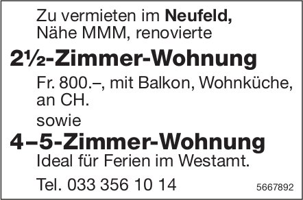 2½-Zimmer-Wohnung sowie 4–5-Zimmer-Wohnung, Neufeld, zu vermieten