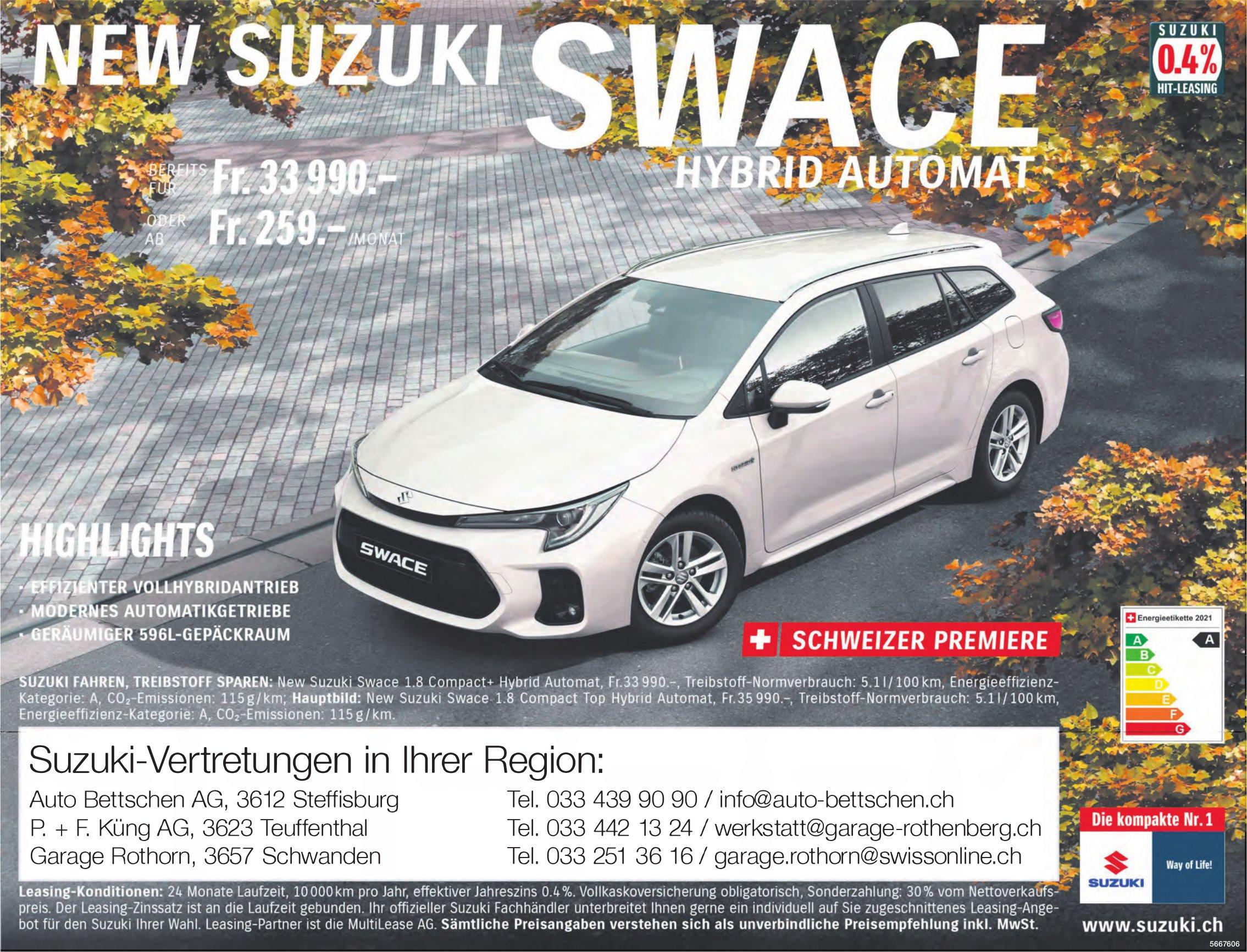 New Suzuki Swace Hybrid Automat - Suzuki-Vertretungen in Ihrer Region