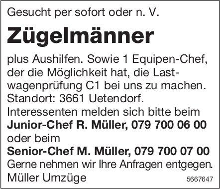 Zügelmänner plus Aushilfen, Müller Umzüge, Uetendorf, gesucht