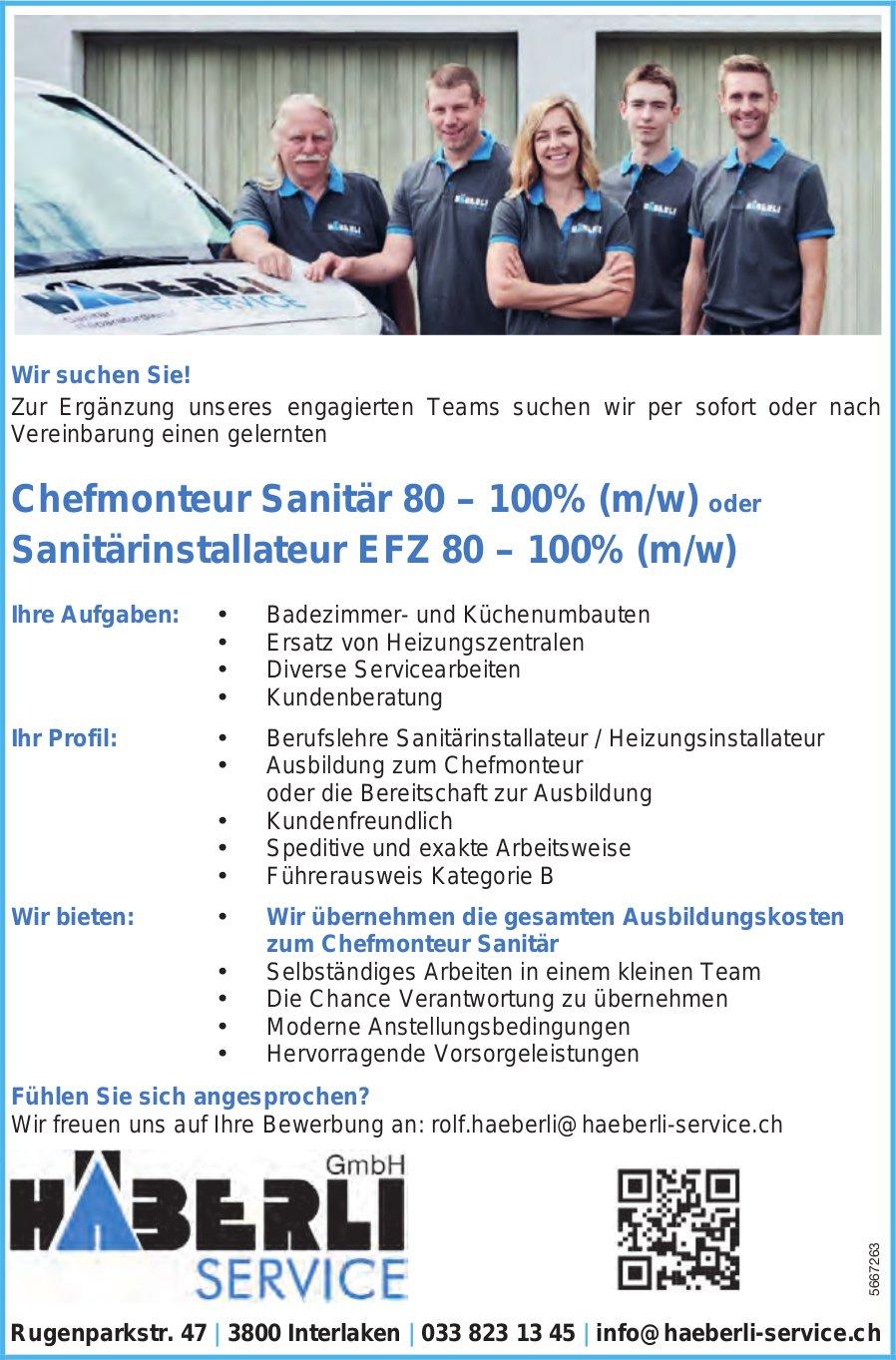 Chefmonteur Sanitär 80–100% (m/w) & Sanitärinstallateur EFZ 80–100% (m/w), Häberli Service GmbH, Interlaken, gesucht