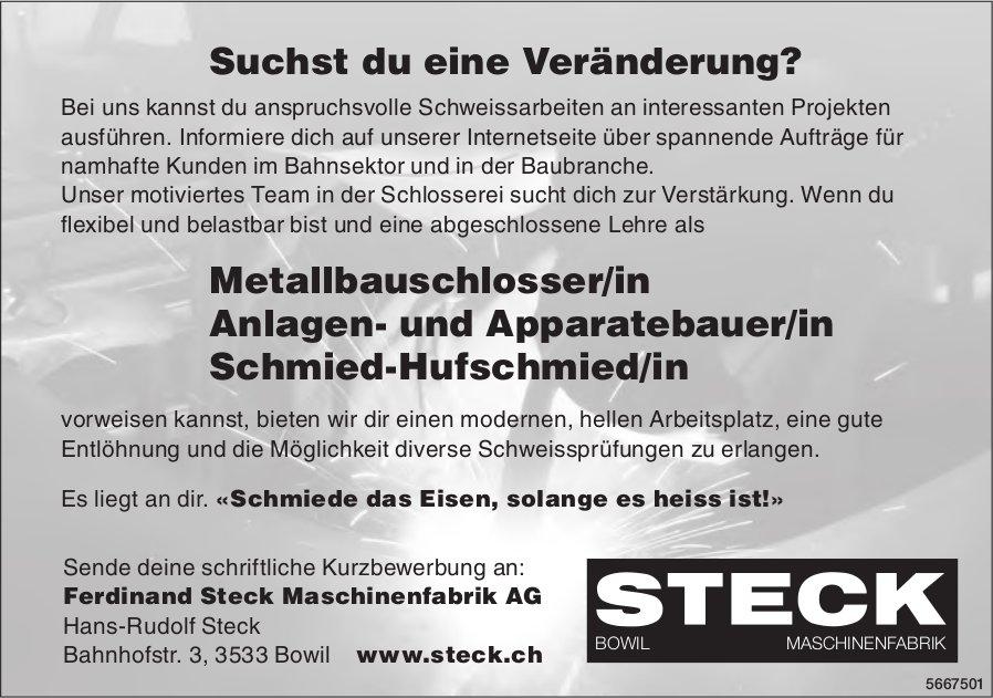 Metallbauschlosser/in, Anlagen- und Apparatebauer/in oder Schmied-Hufschmied/in, Ferdinand Steck Maschinenfabrik AG, Bowil,  gesucht