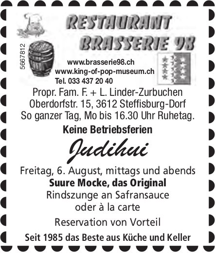 Judihui! Suure Mocke, das Original, 6. August, Restaurant Brasserie 98, Steffisburg