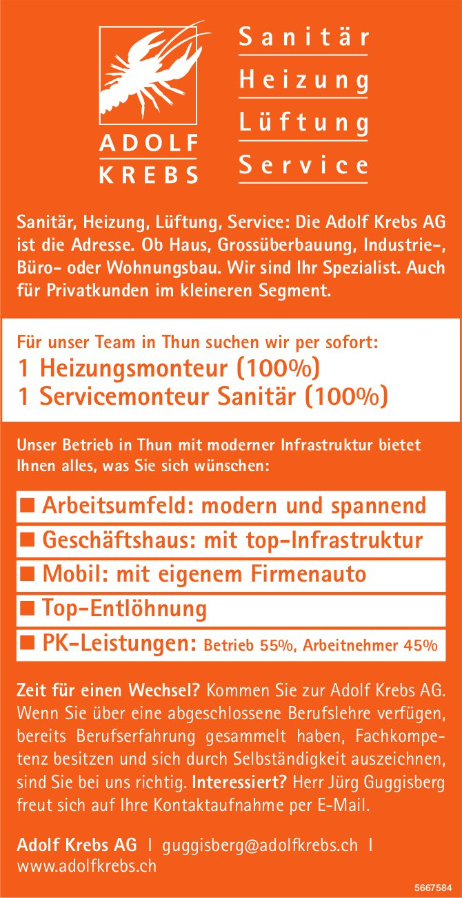 Heizungsmonteur (100%) & Servicemonteur Sanitär (100%), Adolf Krebs AG, Thun, gesucht