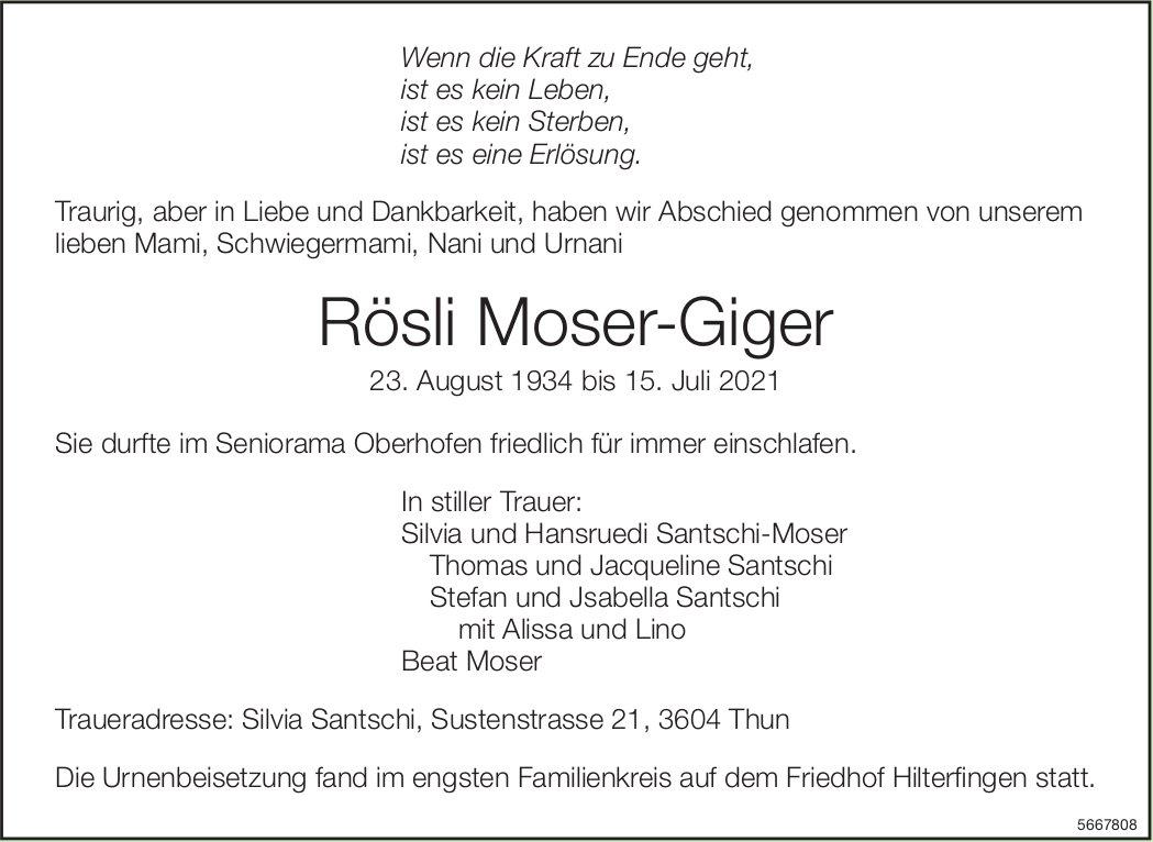 Moser-Giger Rösli, Juli 2021 / TA