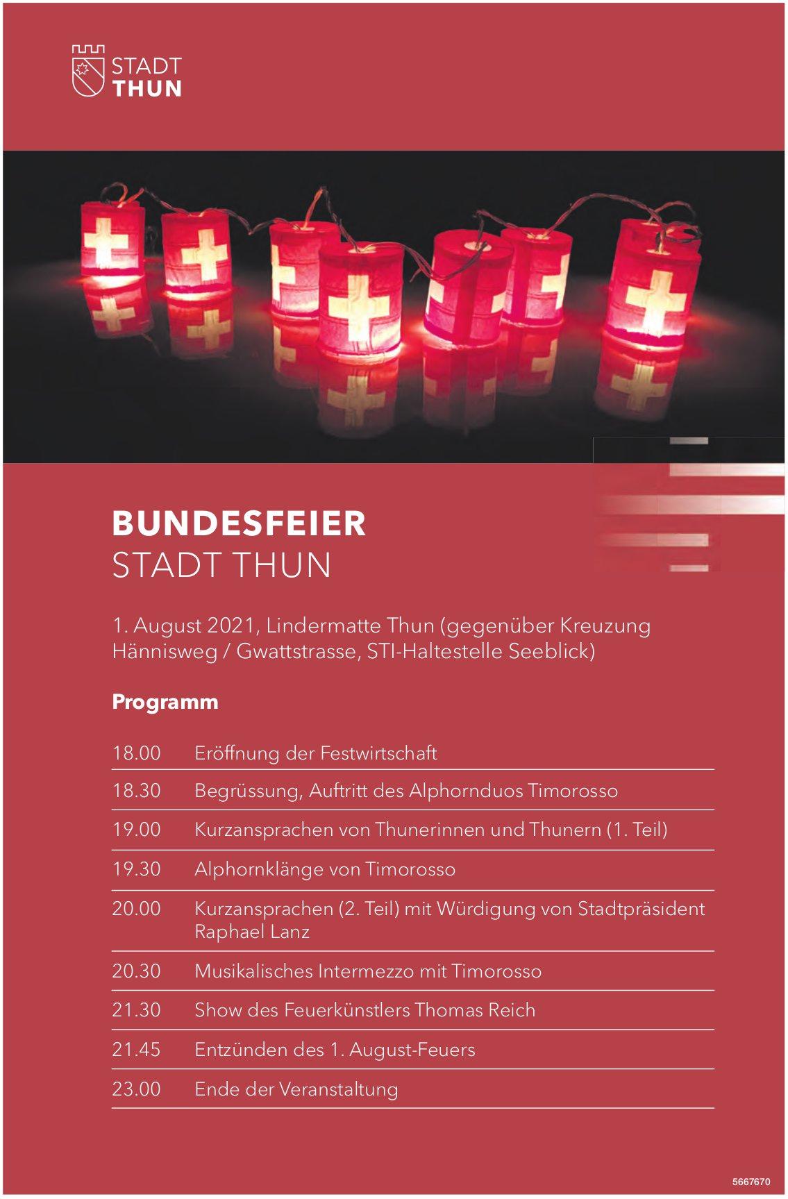 Programm Bundesfeier, 1. August, Stadt Thun