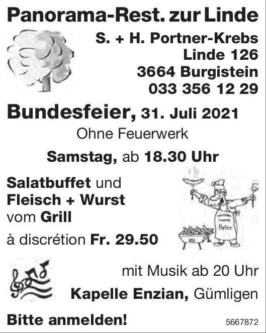 Bundesfeier, 31. Juli 2021, Panorama-Rest. zur Linde, Burgistein
