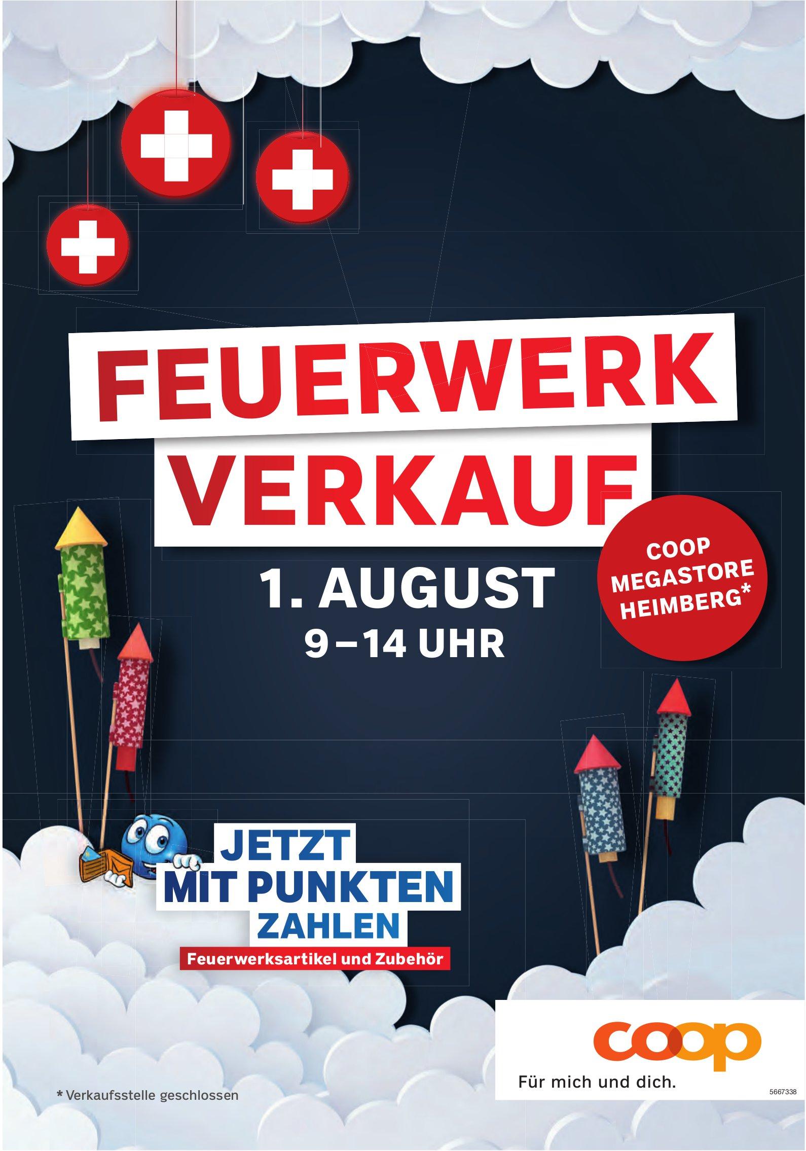 Feuerwerk Verkauf, 1. August, Coop Megastore Heimberg