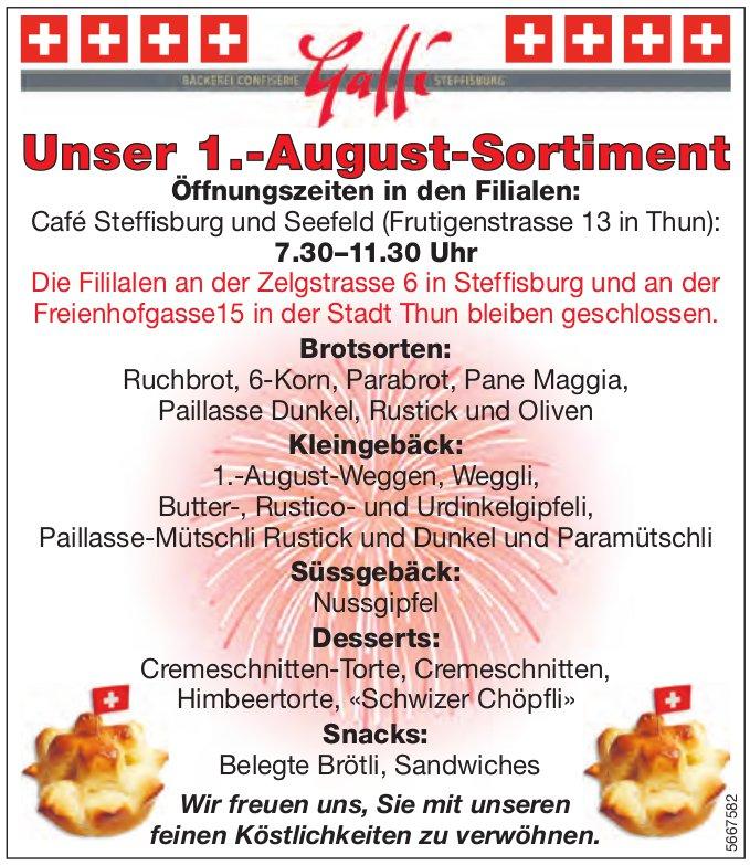 Bäckerei Galli, Steffisburg, Seefeld,  Thun - Unser 1.-August-Sortiment