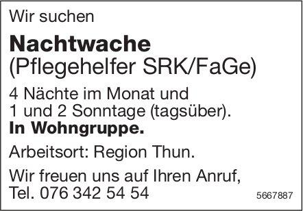 Nachtwache (Pflegehelfer SRK/FaGe), Wohngruppe, Region Thun, gesucht