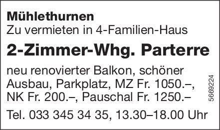 2-Zimmer-Whg. Parterre, Mühlethurnen, zu vermieten