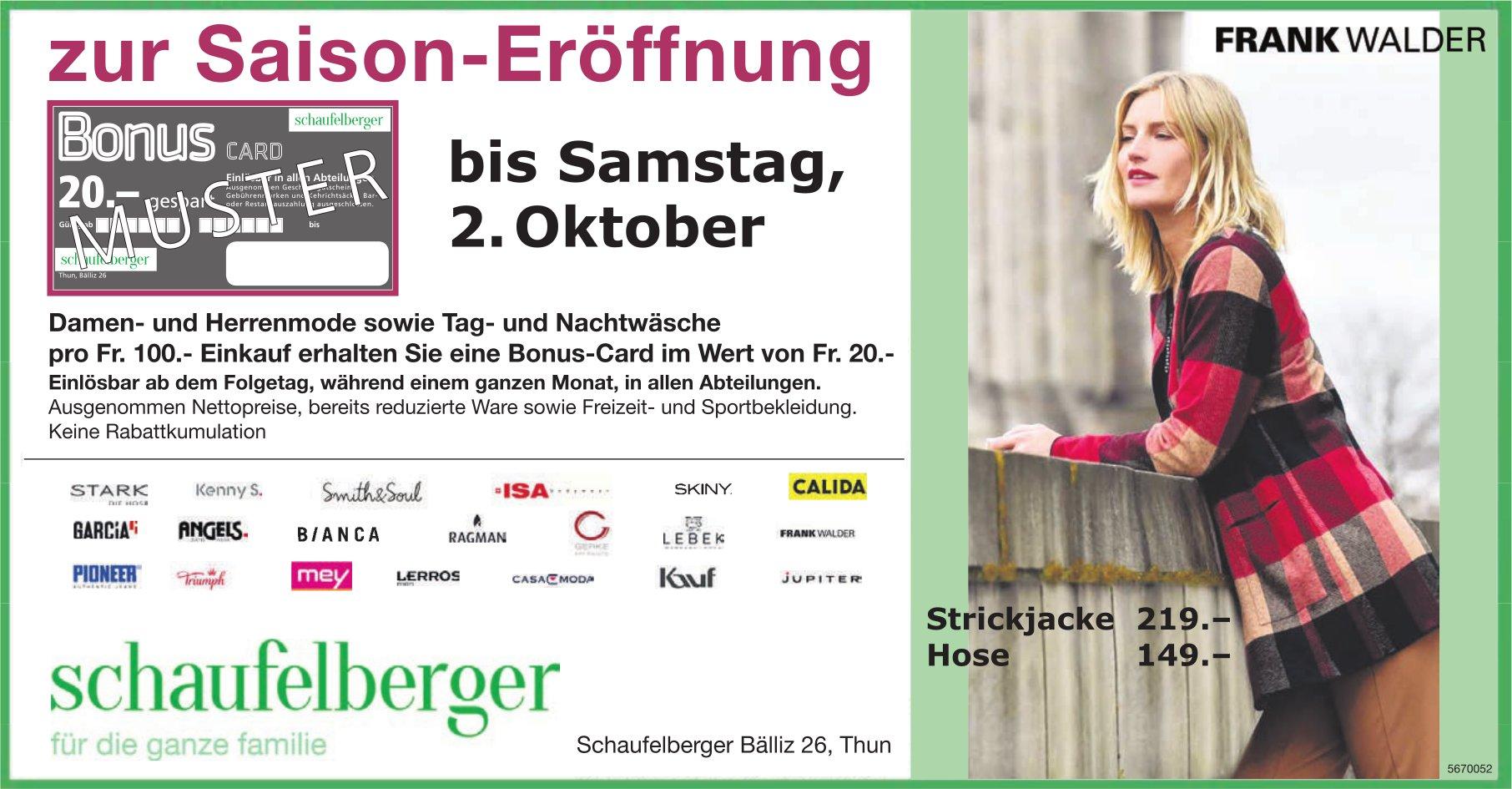 Saison-Eröffnung, bis 2. Oktober, Schaufelberger, Thun