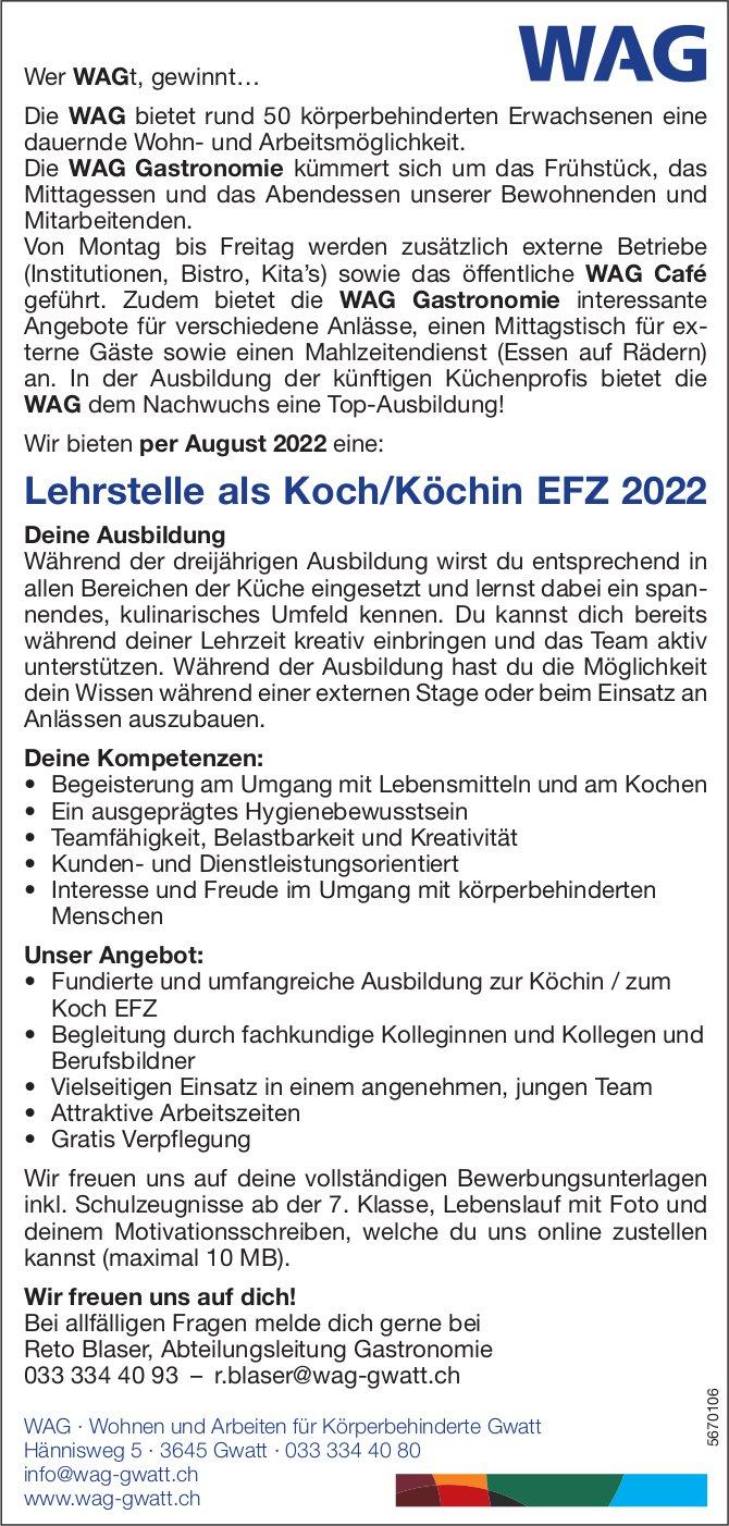Lehrstelle als Koch/Köchin EFZ 2022, Wohnen und Arbeiten für Körperbehinderte Gwatt, zu vergeben