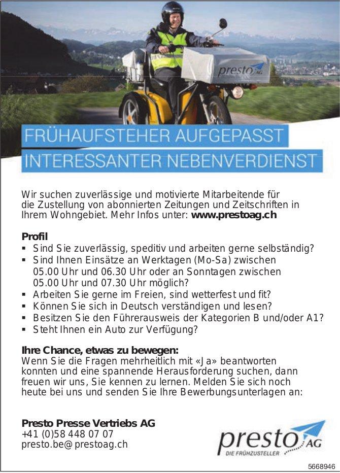 Frühaufsteher Aufgepasst - Interessanter Nebenverdienst, Presto Presse Vertriebs AG, zu vergeben
