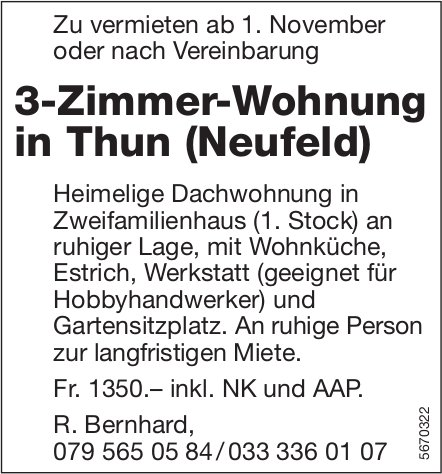 3-Zimmer-Wohnung in Thun (Neufeld), zu vermieten