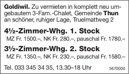 4½-Zimmer-Whg. und 3½-Zimmer-Whg., Goldiwil, zu vermieten