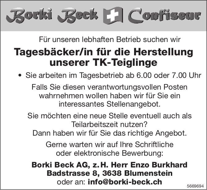 Tagesbäcker/in für die Herstellung unserer TK-Teiglinge, Borki Beck AG, Blumenstein, gesucht