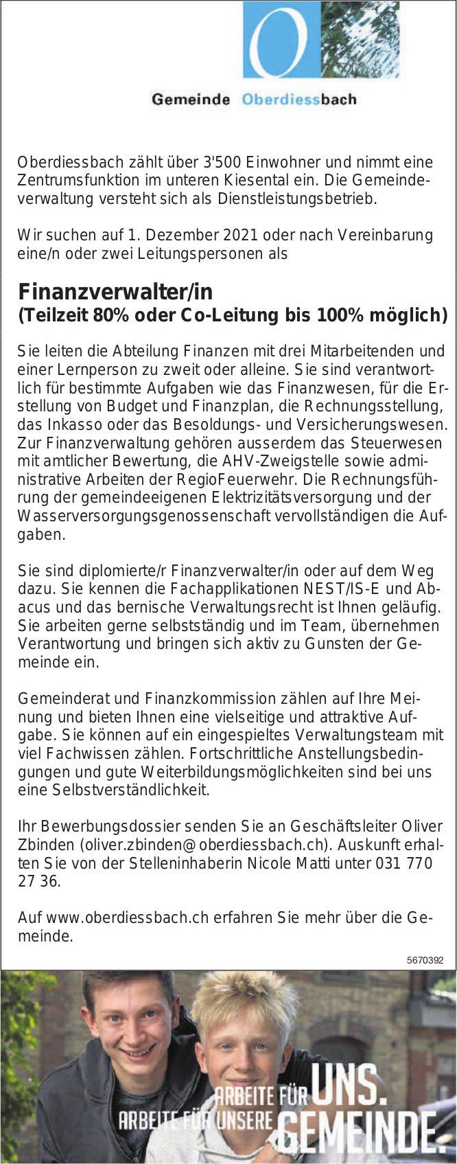 Finanzverwalter/in, Gemeinde, Oberdiessbach, gesucht
