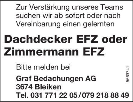 Dachdecker EFZ oder Zimmermann EFZ, Graf Bedachungen AG, Bleiken, gesucht