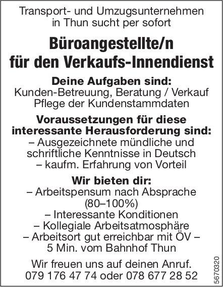 Büroangestellte/r für den Verkaufs-Innendienst, Transport- und Umzugsunternehmen, Thun, gesucht
