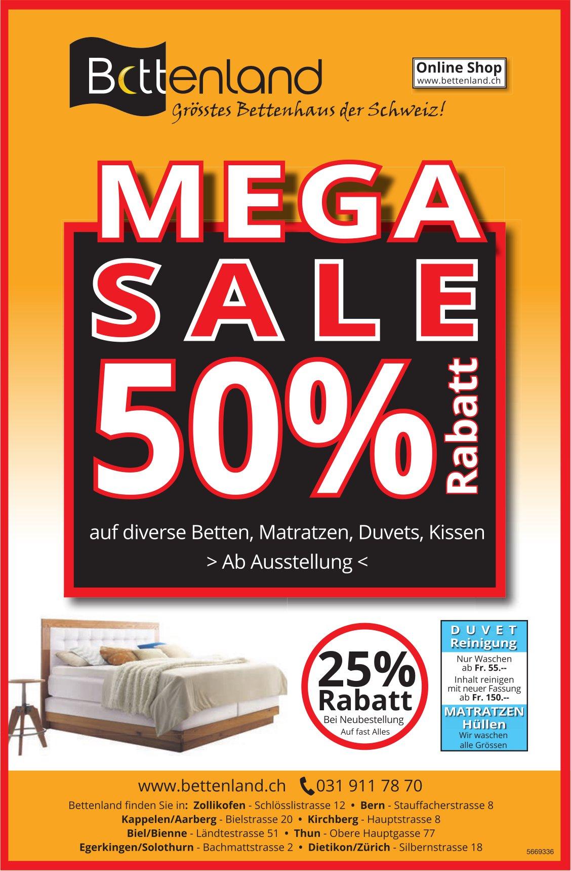 Bettenland - Mega Sale 50% Rabatt