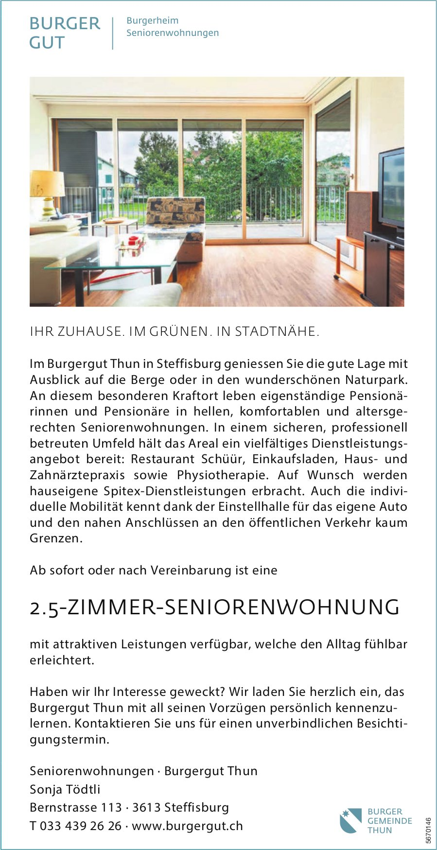 2 .5-Zimmer-Seniorenwohnung, Steffisburg, zu vermieten