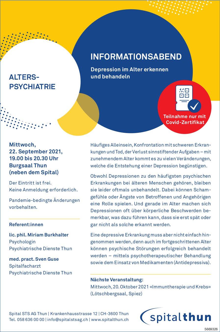 Spital STS AG - Informationsabend: Depression im Alter erkennen und behandeln, 22. September, Thun