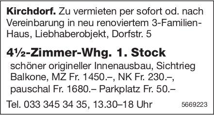 4½-Zimmer-Whg. 1. Stock, Kirchdorf, zu vermieten