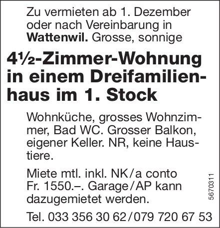 4½-Zimmer-Wohnung in einem Dreifamilien- haus im 1. Stock, Wattenwil, zu vermieten