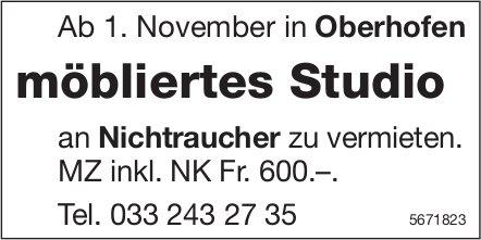 Möbliertes Studio, Oberhofen, zu vermieten
