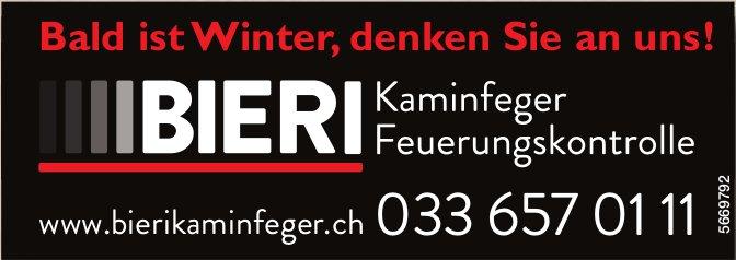 Bieri Kaminfeger / Feuerungskontrolle - Bald ist Winter, denken Sie an uns!