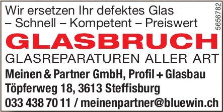 Meinen & Partner GmbH, Profil+Glasbau, Steffisburg - Glasbruch: Glasreparaturen aller ART