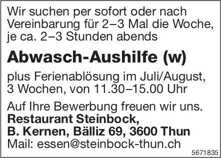 Abwasch-Aushilfe (w), Restaurant Steinbock, Thun, gesucht