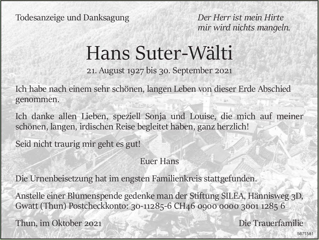 Suter-Wälti Hans, im Oktober 2021 / TA + DS