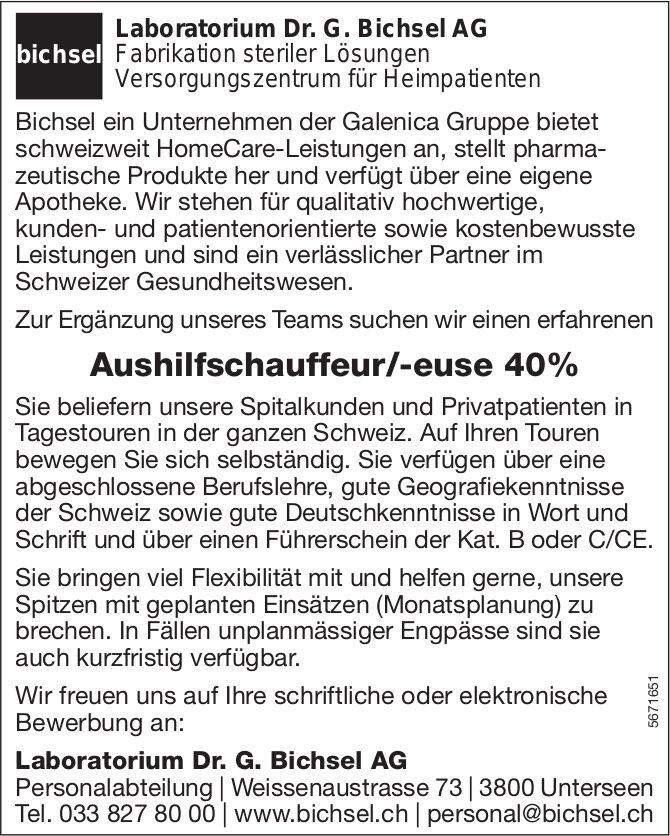 Aushilfschauffeur/-euse 40%, Laboratorium Dr. G. Bichsel AG, Unterseen, gesucht