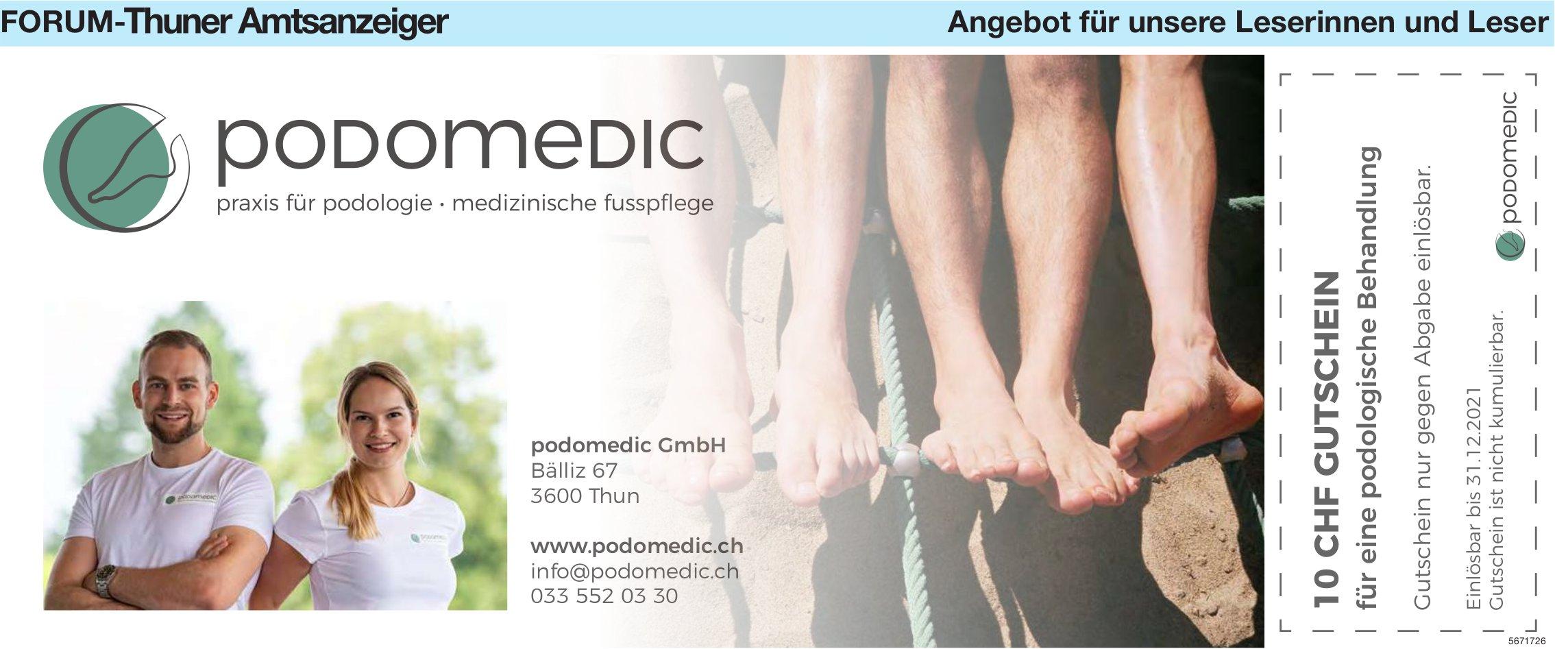 Forum-Thuner Amtsanzeiger - Podomedic: 10 CHF Gutschein für eine podologische Behandlung