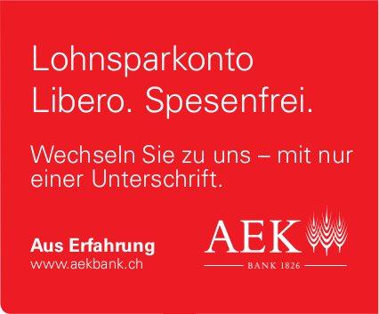 AEK Bank - Lohnsparkonto Libero. Spesenfrei.