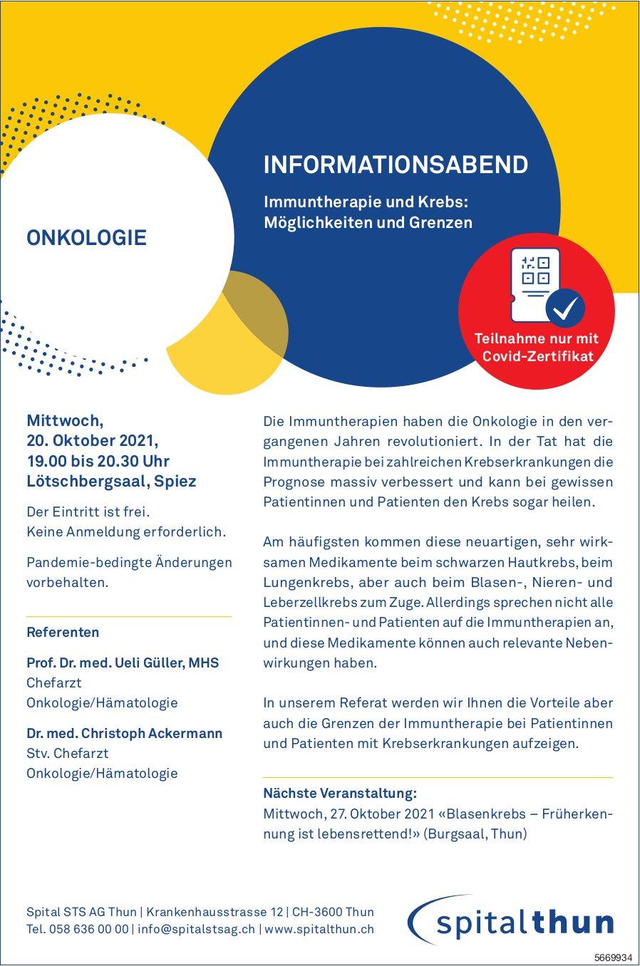 Informationsabend Immuntherapie und Krebs: Möglichkeiten und Grenzen, Spital STS AG, 20. Oktober, Thun