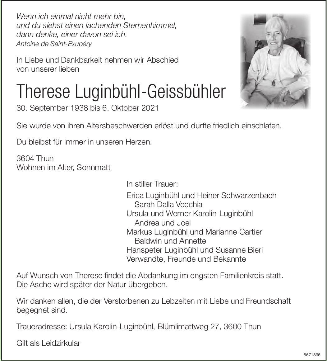 Luginbühl-Geissbühler Therese, Oktober 2021 / TA