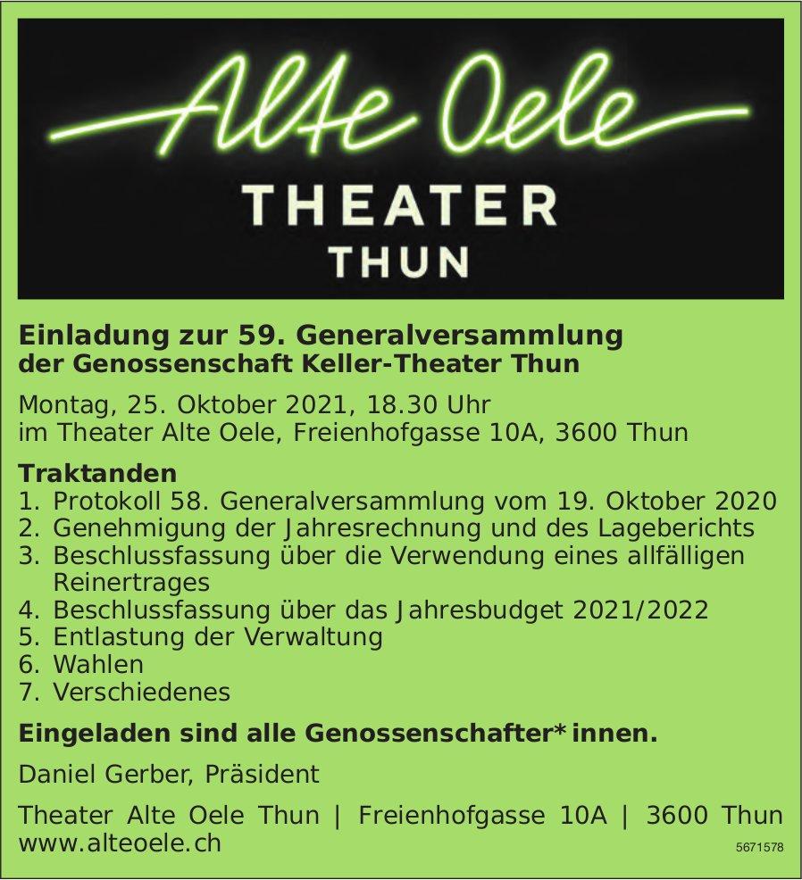 Alte  Oele - Einladung zur 59. Generalversammlung der Genossenschaft Keller-Theater Thun, 25. Oktober
