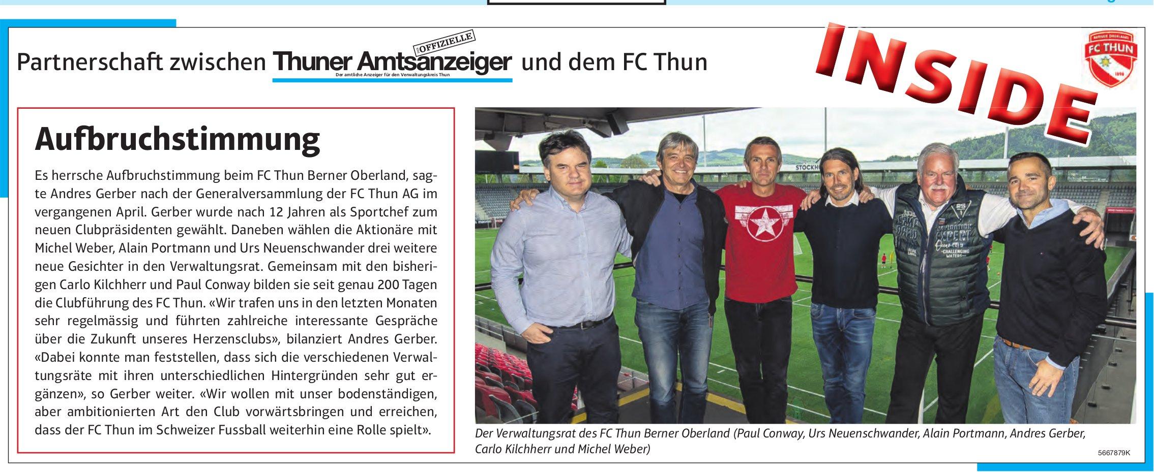 Thuner Amtsanzeiger / FC Thun, Inside: Aufbruchstimmung