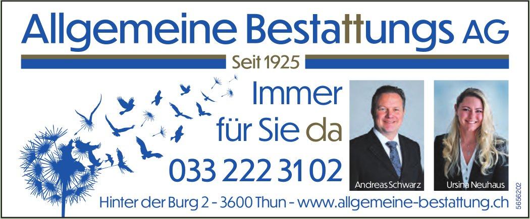 Allgemeine Bestattungs AG, Thun - Immer für Sie da