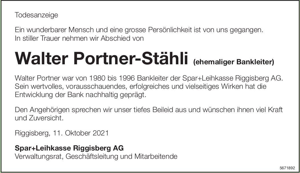 Portner-Stähli Walter, Oktober 2021 / TA