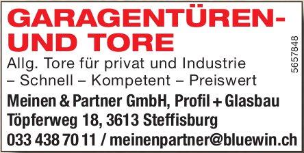Meinen & Partner GmbH, Profil+Glasbau, Steffisburg - Garagentüren- und Tore