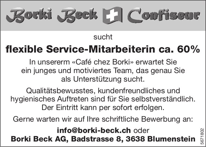Flexible Service-Mitarbeiterin ca. 60%, Borki Beck AG, Blumenstein, gesucht