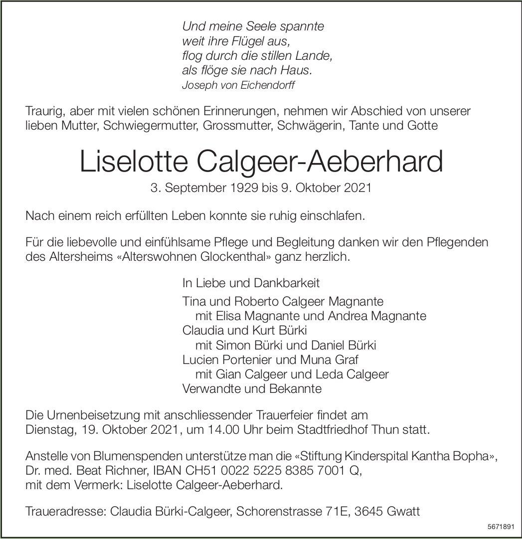 Calgeer-Aeberhard Liselotte, Oktober 2021 / TA