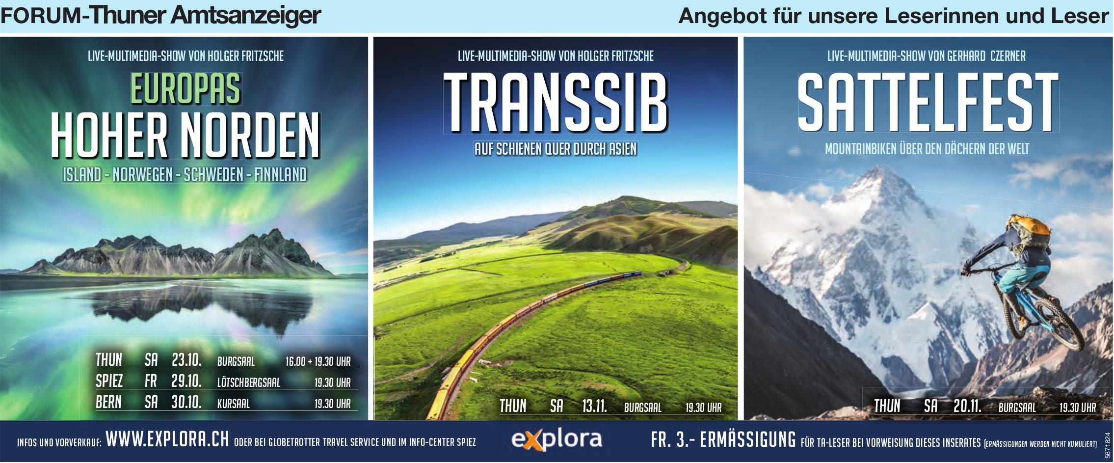 Forum-Thuner Amtsanzeiger - Live-Multimedia-Show: Europas hoher Norden, Transsib, Sattelfest