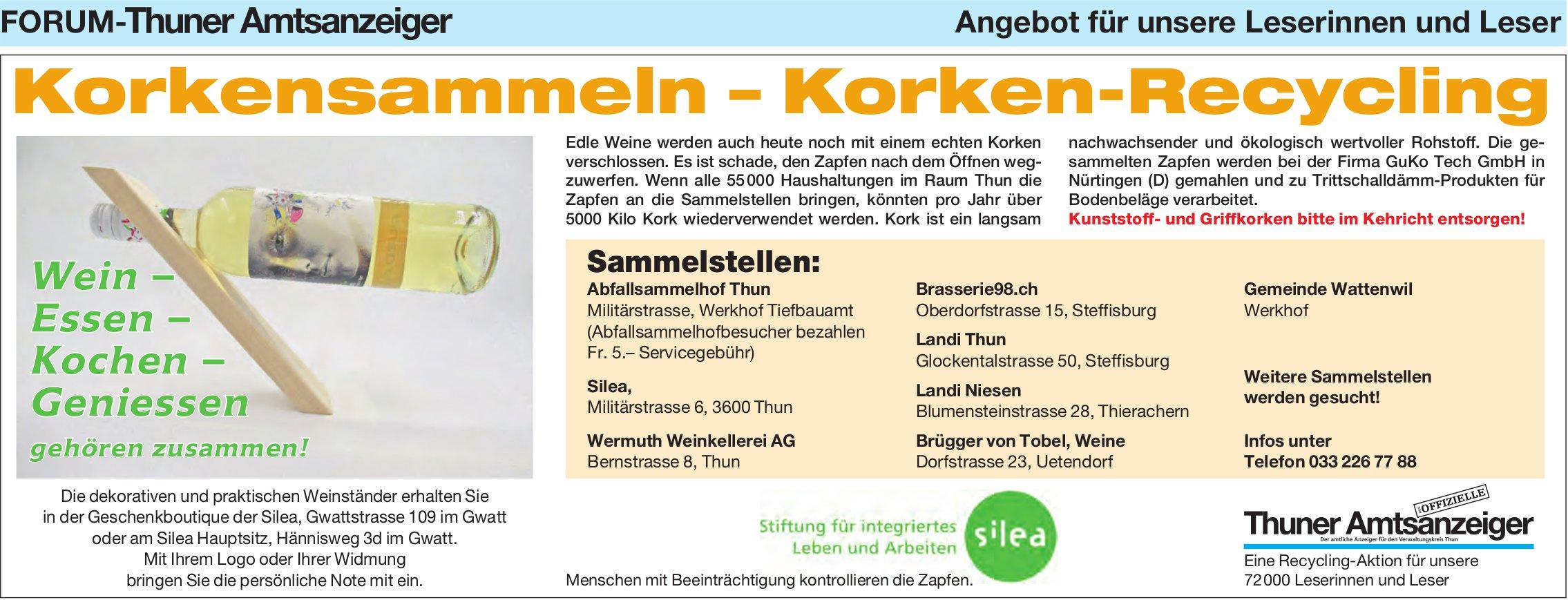 Forum-Thuner Amtsanzeiger/ Silea, Korkensammeln – Korken-Recycling
