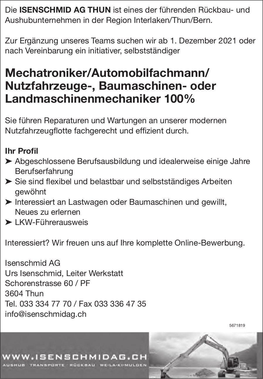 Mechatroniker/Automobilfachmann/ Nutzfahrzeuge-, Baumaschinen- oder Landmaschinenmechaniker 100%, Isenschmid AG, Thun,  gesucht