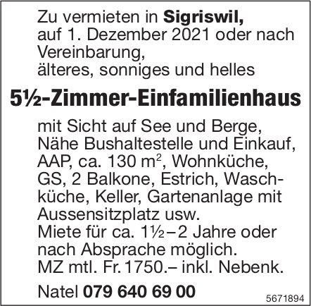 5½-Zimmer-Einfamilienhaus, Sigriswil, zu vermieten